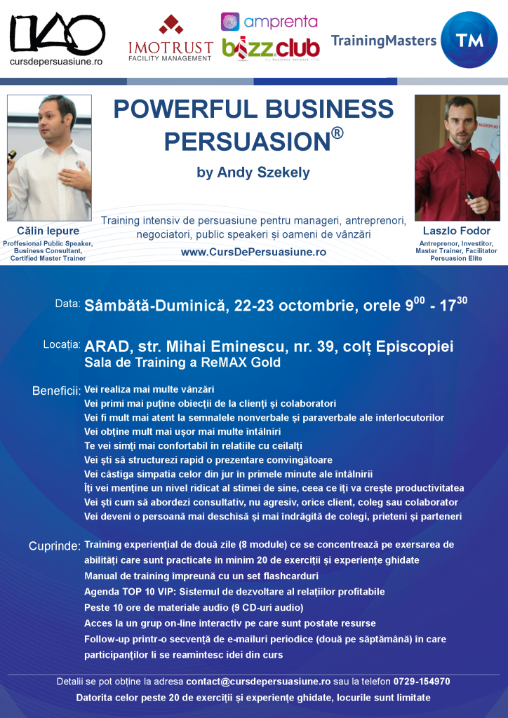 Training Powerful Business Persuasion – 22-23 Octombrie, ARAD